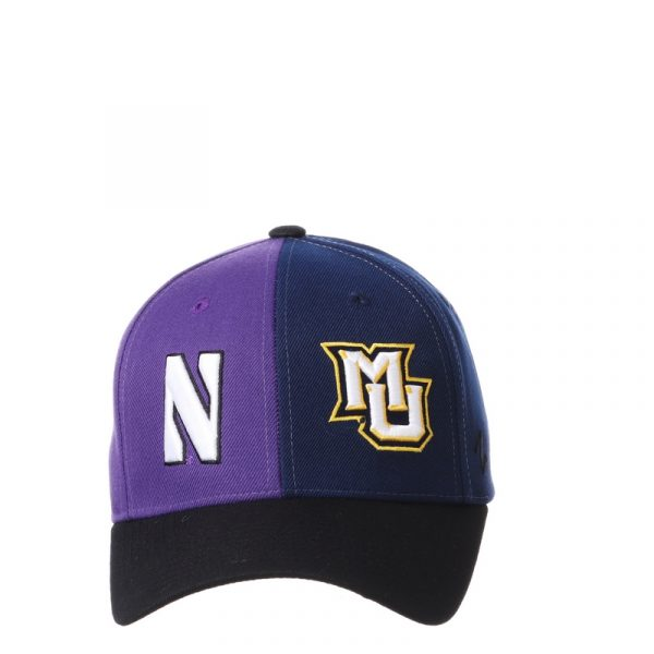 Northwestern University Wildcats House Divided Hat with Marquette Golden Eagles-5